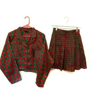Vintage 70s Plaid Skirt Jacket Set Christmas S/M